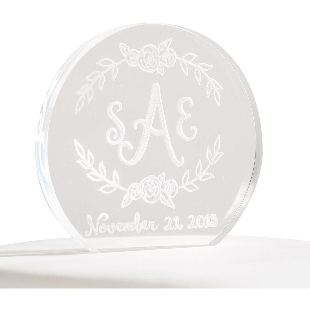 Personalized Floral Monogram Acrylic Cake Topper