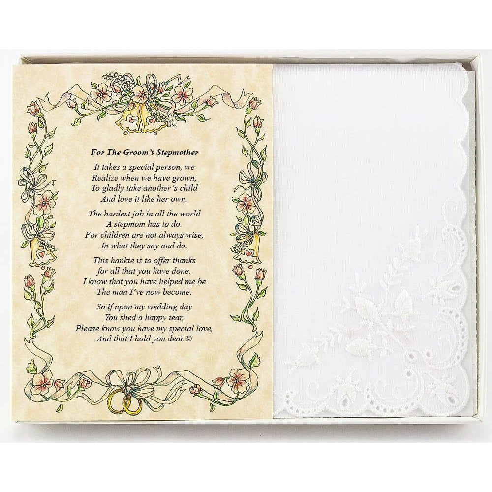 Personalized For Groom's Stepmother or Someone Dear Wedding Handkerchief