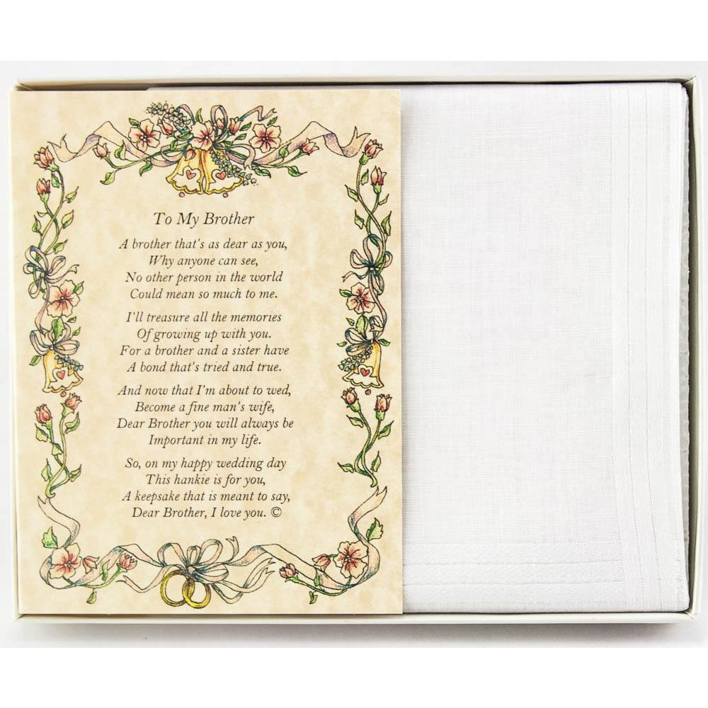 Personalized From the Bride to her Brother Wedding Handkerchief