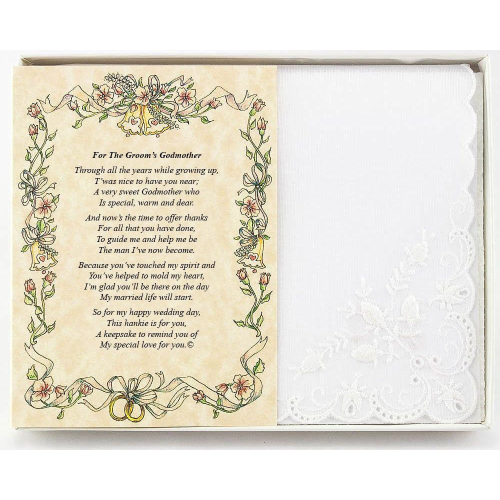 Personalized From the Groom to his Godmother Wedding Handkerchief