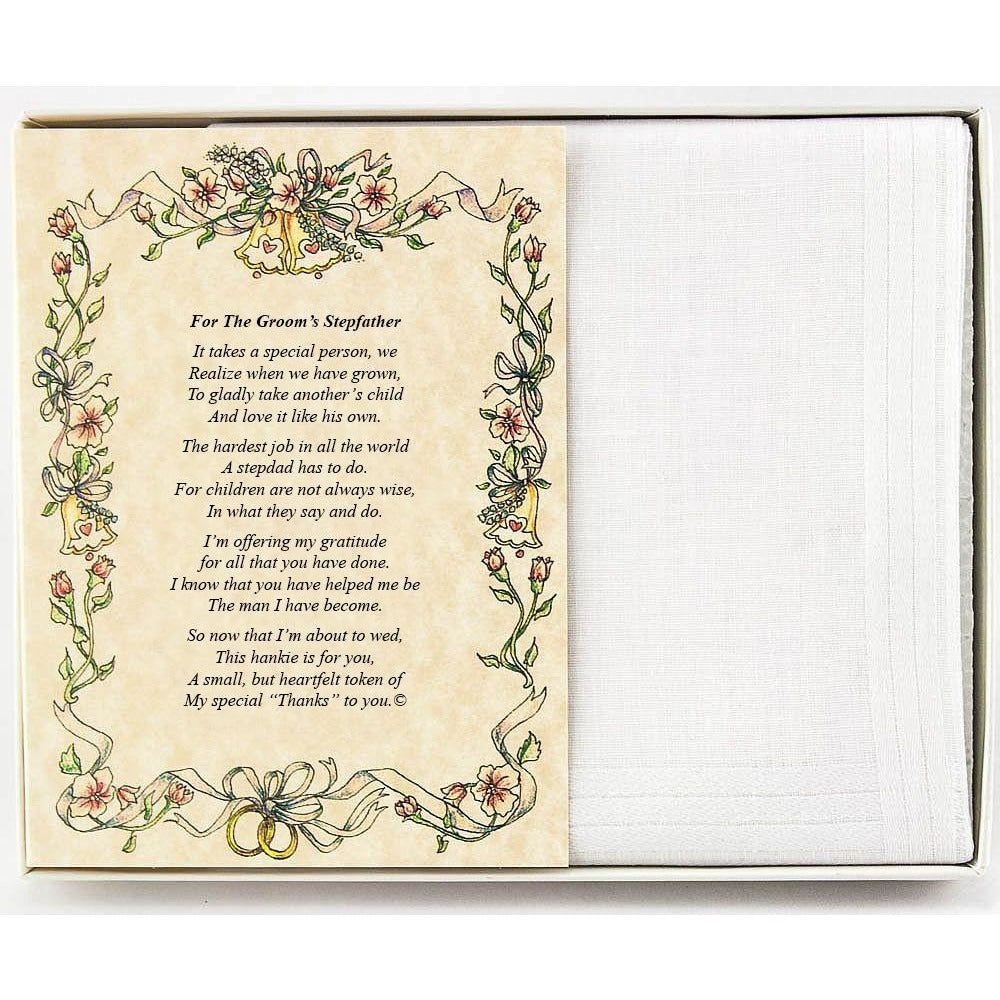 Personalized From the Groom to his Stepfather Wedding Handkerchief