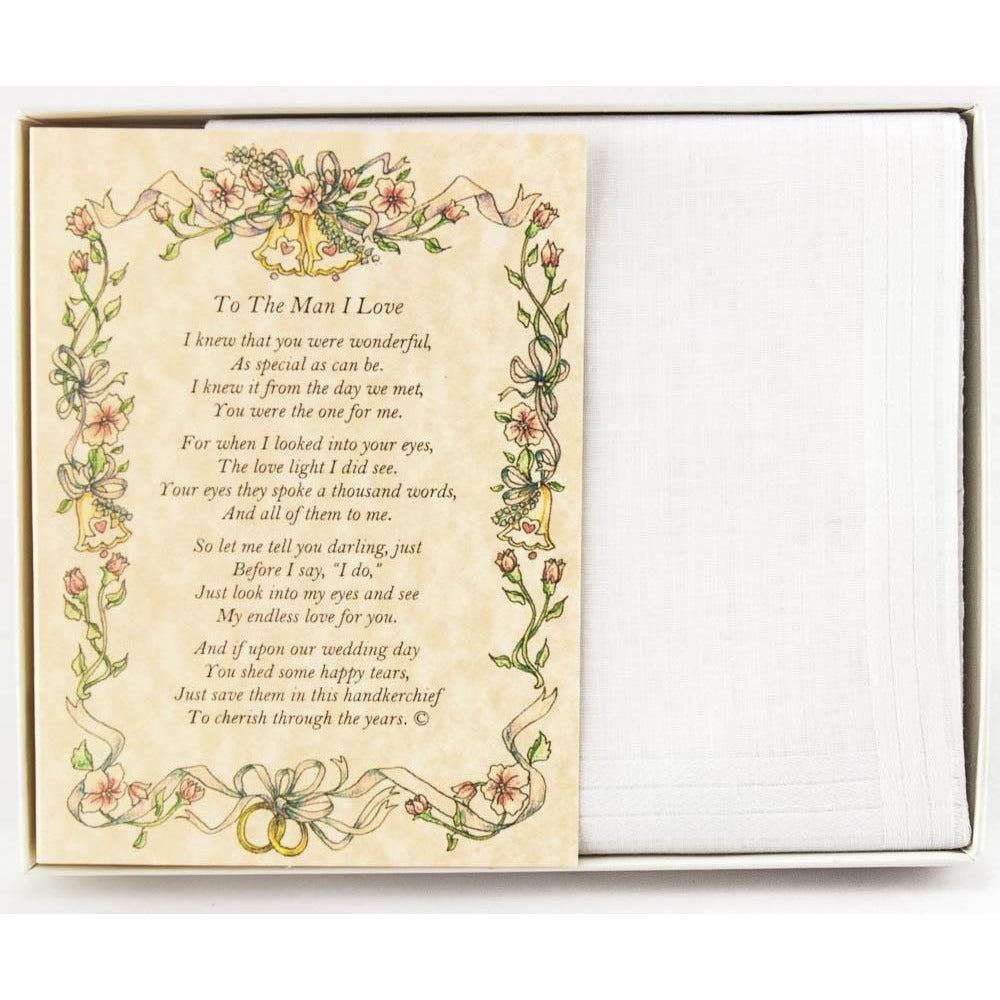 Personalized From the Bride to the Groom Poetry Wedding Handkerchief
