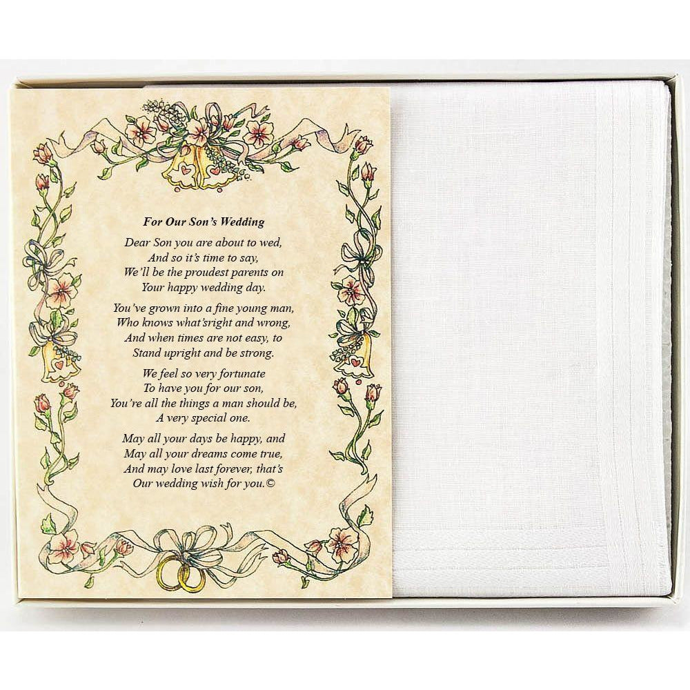 Personalized From the Groom's Parents to the Groom Poetry Wedding Handkerchief