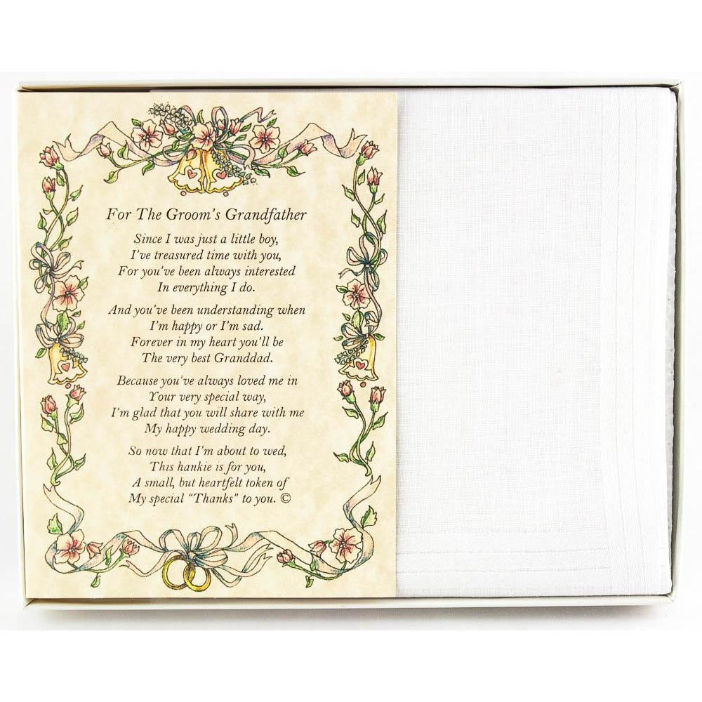 Personalized From the Groom to his Grandfather Wedding Handkerchief