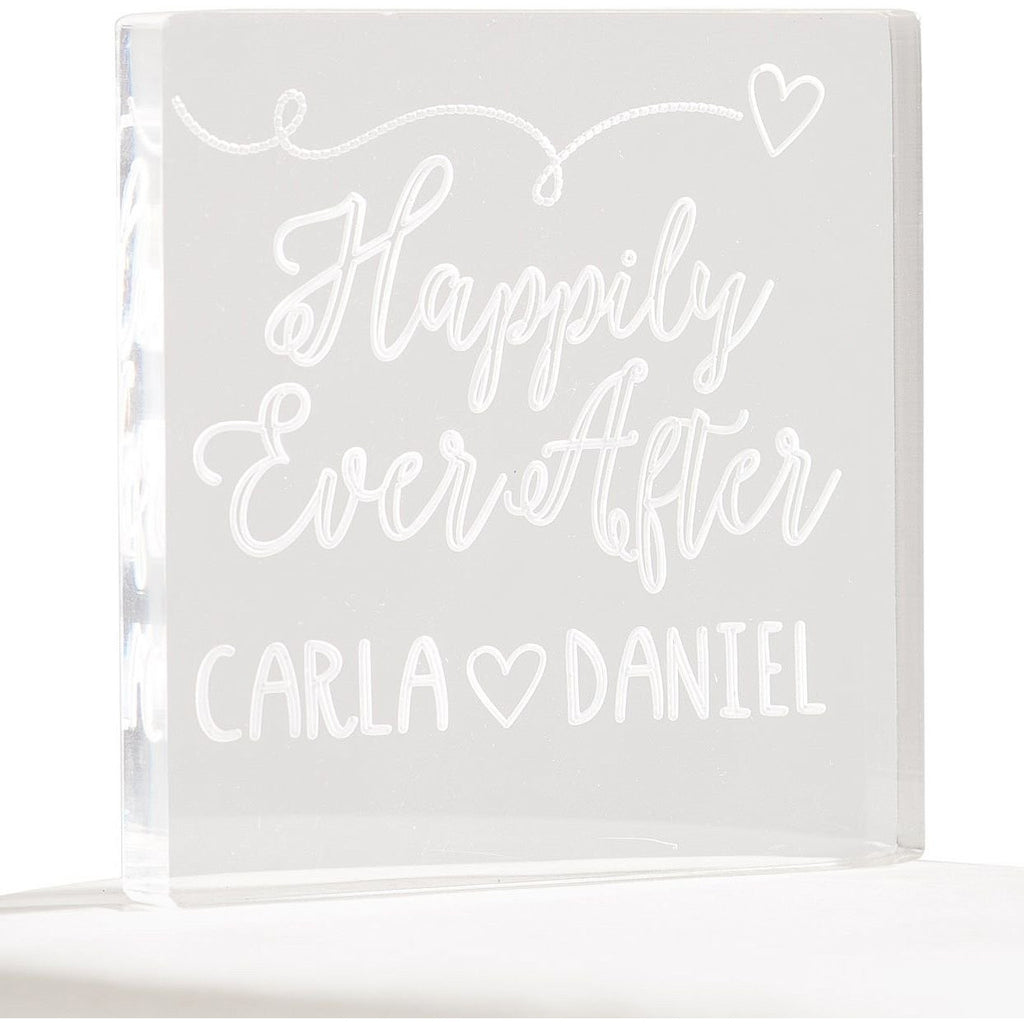 Personalized Happily Ever After Acrylic Wedding Cake Topper