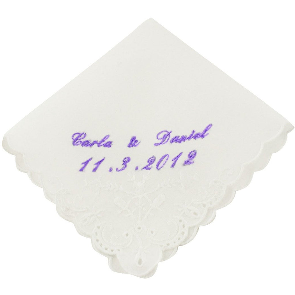 Cursive Custom Names & Date Wedding Handkerchief