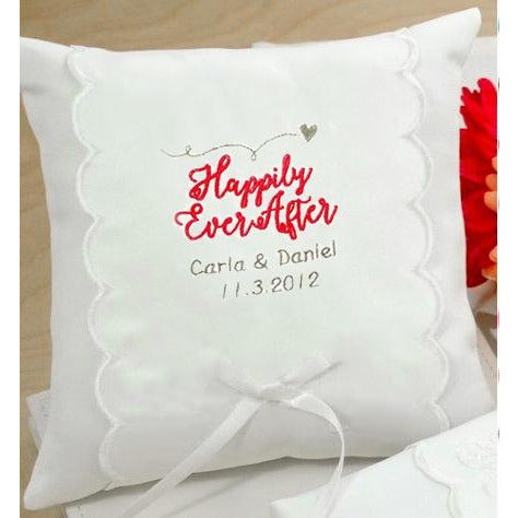Personalized Happily Ever After Wedding Ring Pillow