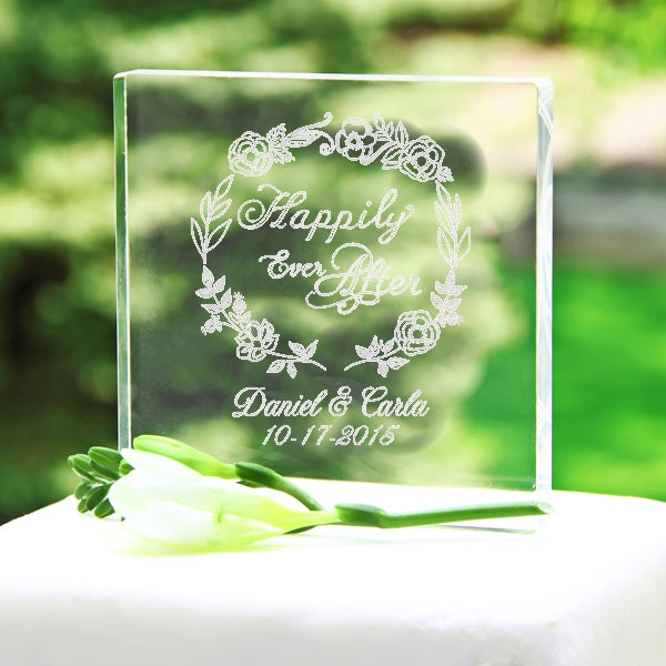 Personalized Happily Ever After Wreath Acrylic Wedding Cake Topper