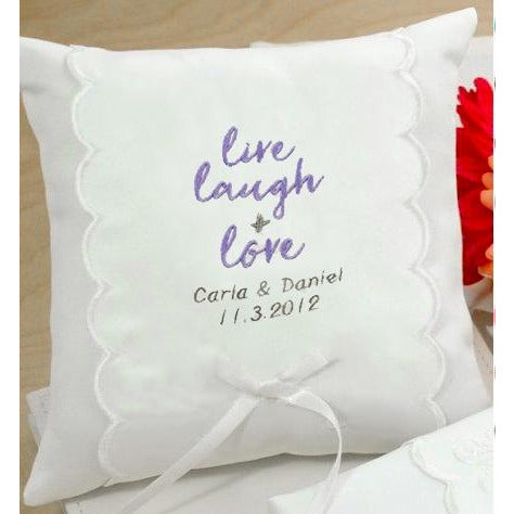 Personalized Live, Laugh & Love Wedding Ring Pillow
