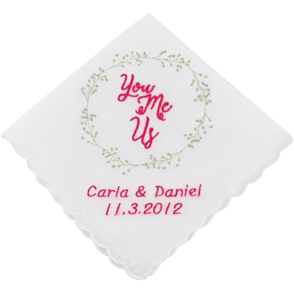 Personalized You, Me, Us Wedding Handkerchief