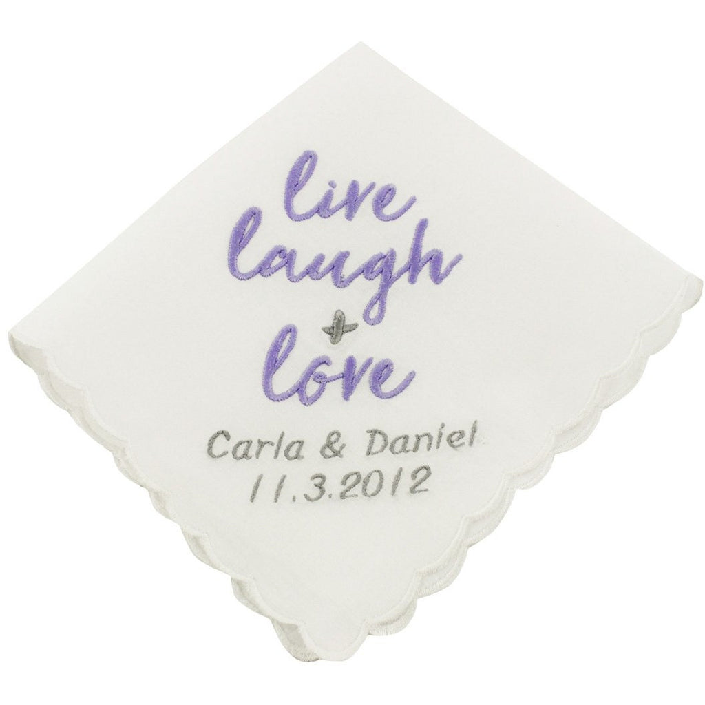 Personalized Live, Laugh & Love Wedding Handkerchief