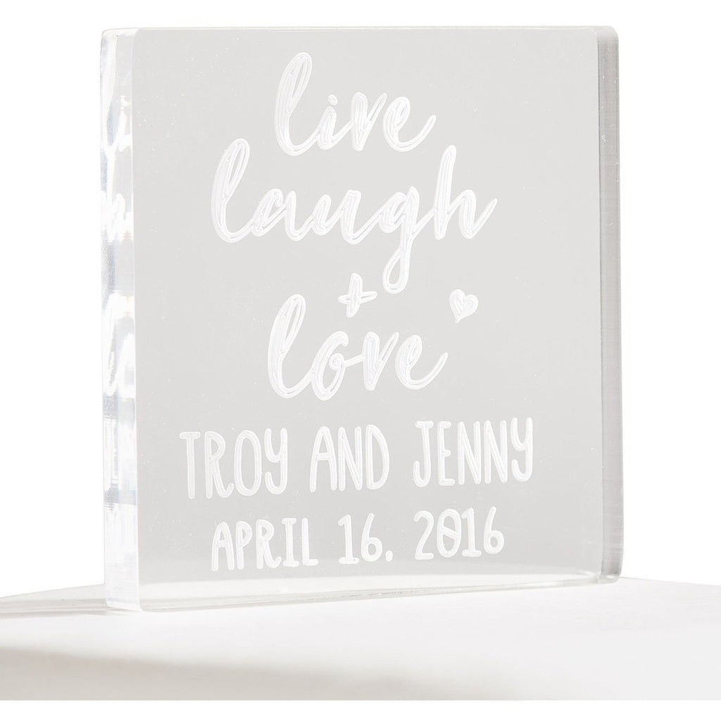 Personalized Live Laugh Love Acrylic Cake Topper