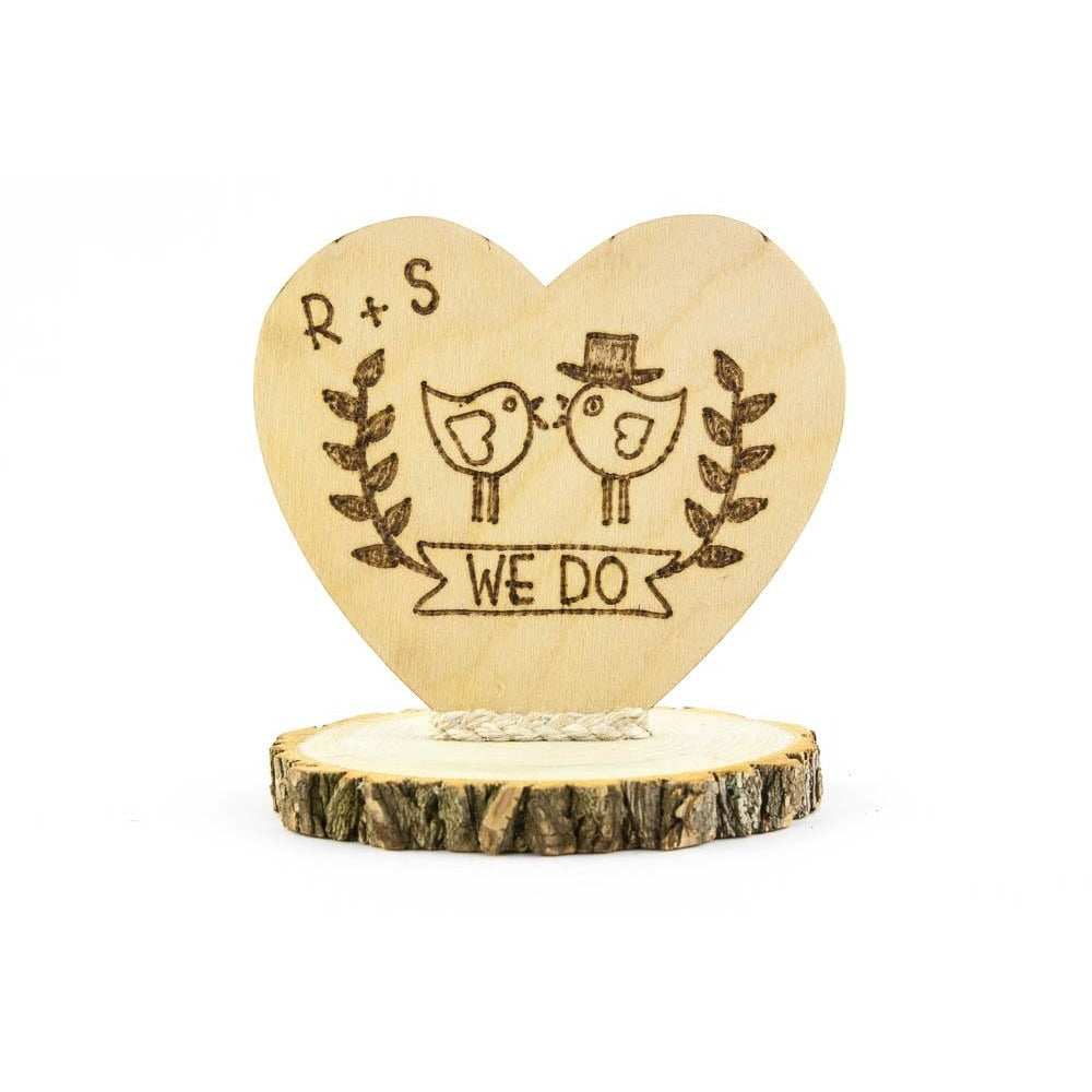 Personalized We Do Love Birds Rustic Cake Topper