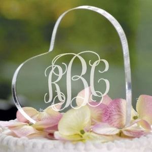 Personalized Monogram Acrylic Heart Cake Topper