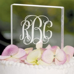 Personalized Monogram Acrylic Square Cake Topper