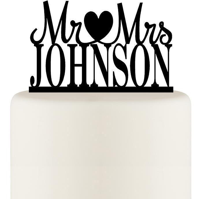 Personalized Mr and Mrs Open Heart Wedding Cake Topper