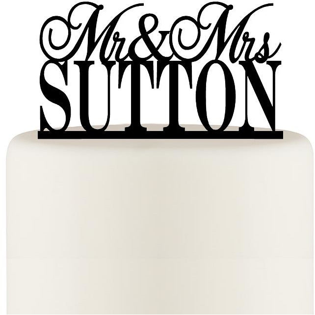 Personalized Mr and Mrs Wedding Cake Topper with YOUR Last Name