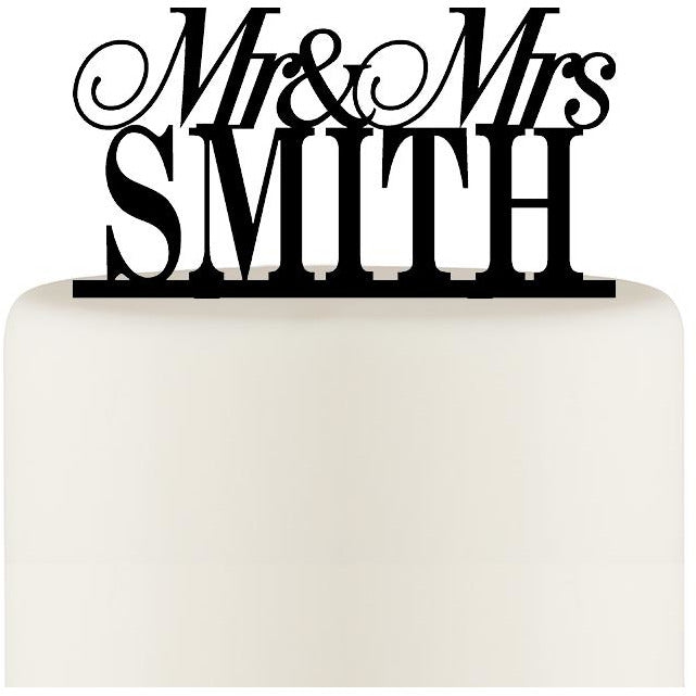 Personalized Mr and Mrs Wedding Cake Topper