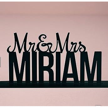 Personalized Mr. And Mrs. Black Acrylic Cake Topper