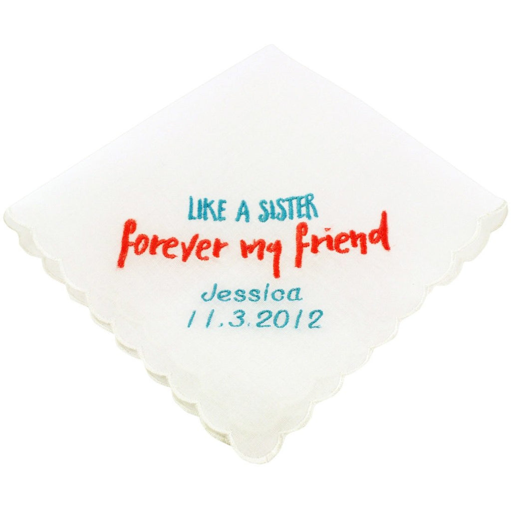 Personalized Like A Sister Wedding Handkerchief