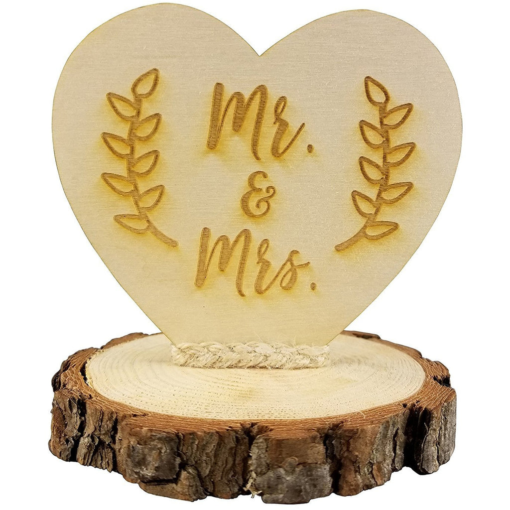 Rustic Wood Mr. & Mrs. Wedding Cake Topper