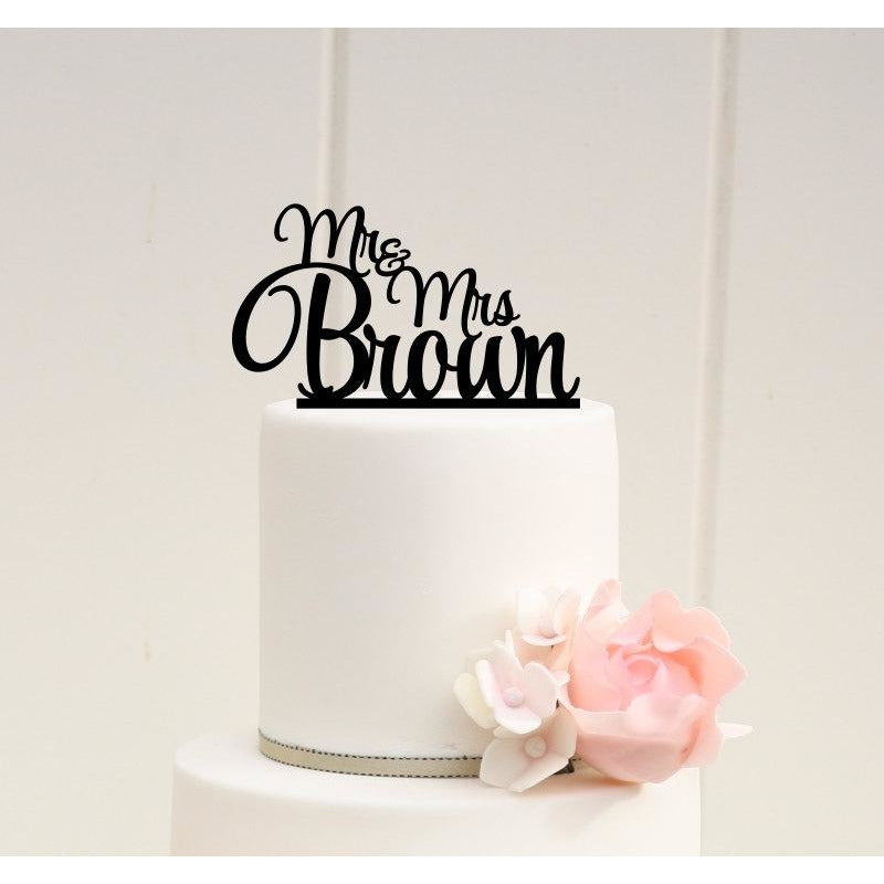 Personalized Stacked Mr and Mrs Wedding Cake Topper