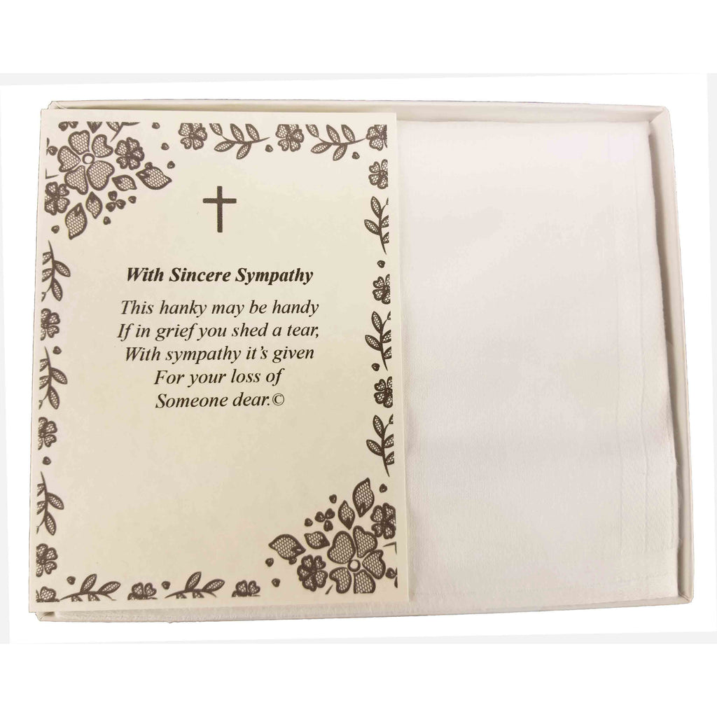 Personalized Sympathy Bereavement Christian Religious with Cross Poetry Men's Handkerchief Gift Keepsake Ideas for Loved One