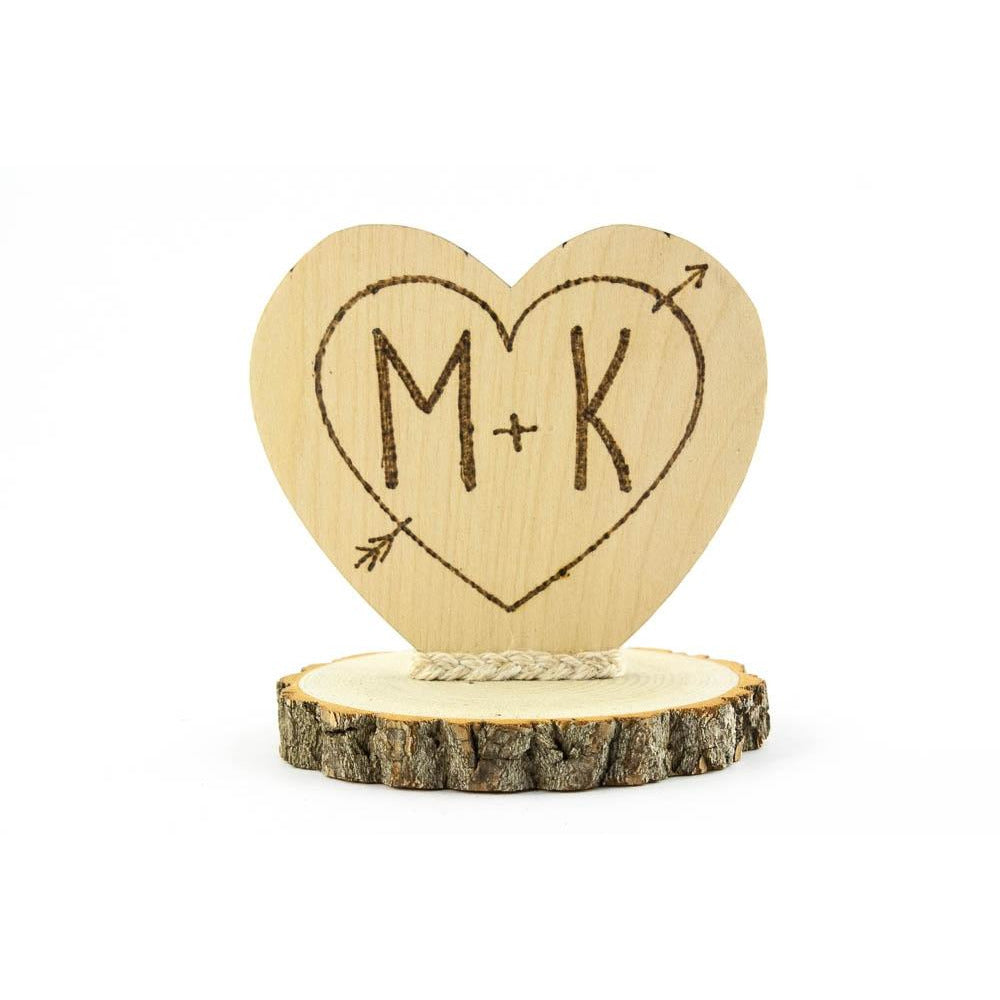 Personalized Cupid's Heart Rustic Cake Topper