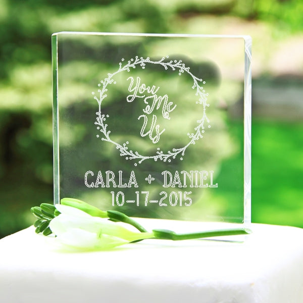 Personalized You Me Us Wreath Acrylic Cake Topper