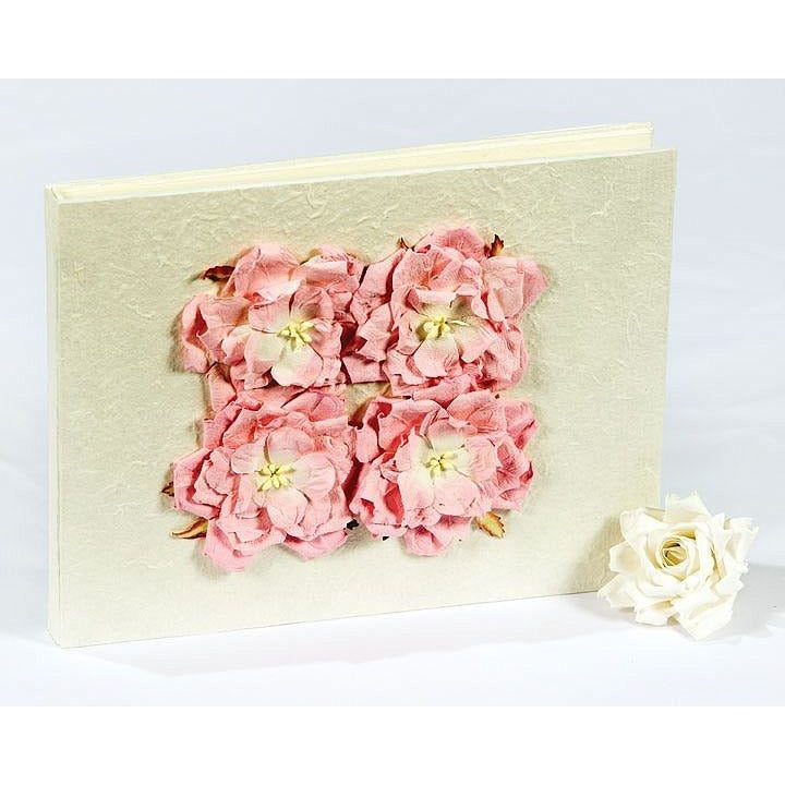 Pink Rose Natural Paper Wedding Guestbook