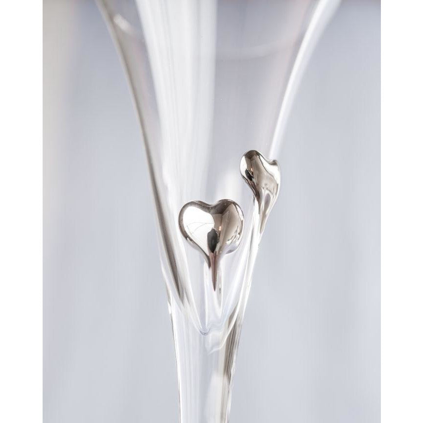 Platinum Crystal Elegance Heart Wedding Toasting Glasses