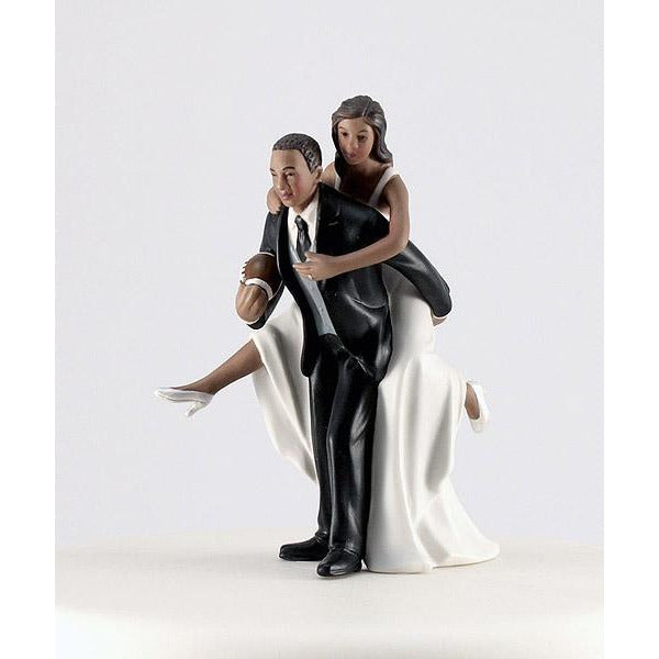 Playful Football Wedding Couple Figurine -Dark Skin Tone