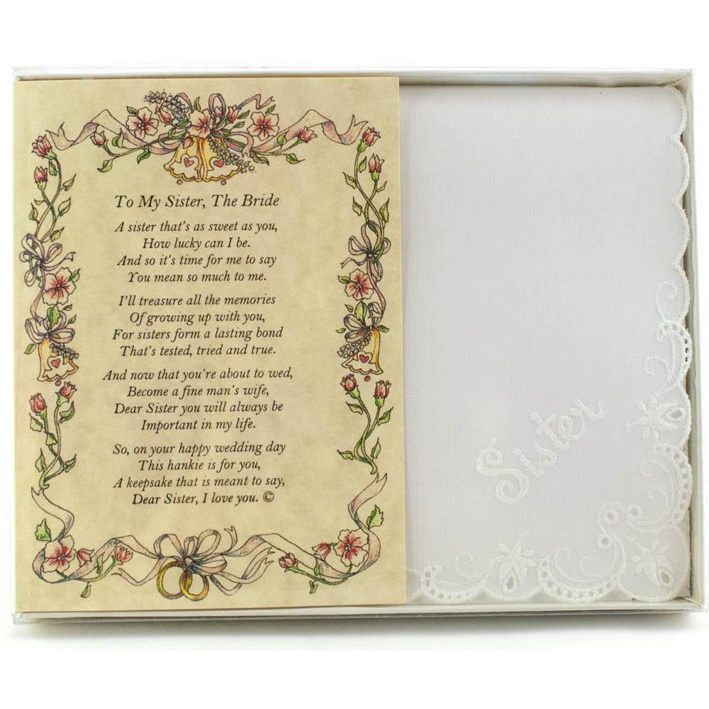 Personalized Poetry Hankie for Bride from Sister Wedding Handkerchief