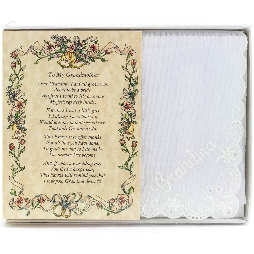 Personalized Poetry Hankie for Grandmother from Bride Wedding Handkerchief