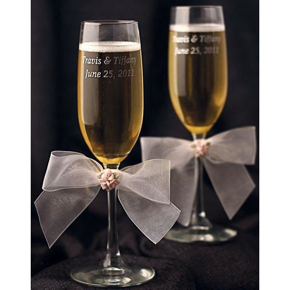 Porcelain Rose Bouquet Wedding Toasting Glasses