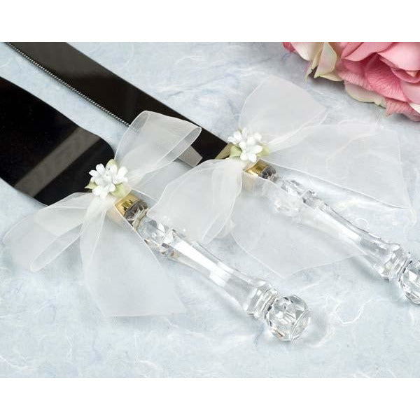 Porcelain Stephanotis Bouquet Wedding Cake Server Set