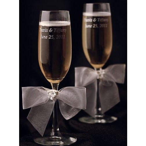 Porcelain Stephanotis Bouquet Wedding Toasting Glasses