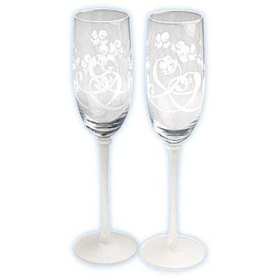"Precious Moments ® ""Bluebirds of Happiness"" Wedding Toasting Glasses"