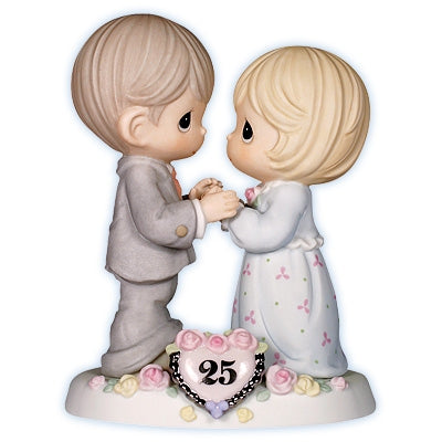 "Precious Moments ® ""Our Love Still Sparkles in Your Eyes"" 25th Anniversary Cake Topper Figurine"
