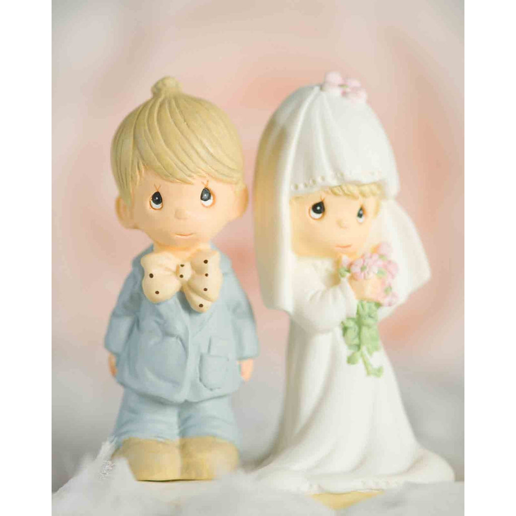 "Precious Moments ® ""The Lord Bless You and Keep You"" Small Wedding Cake Topper Figurine"
