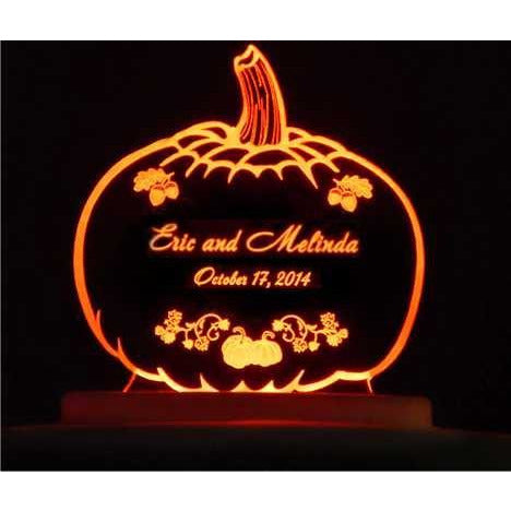 Pumpkin Autumn Light-Up Wedding Cake Topper