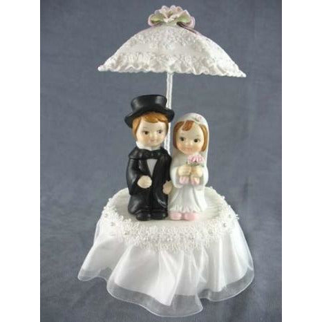 Rainy Day Child Couple Wedding Cake Topper with Porcelain Parasol Umbrella