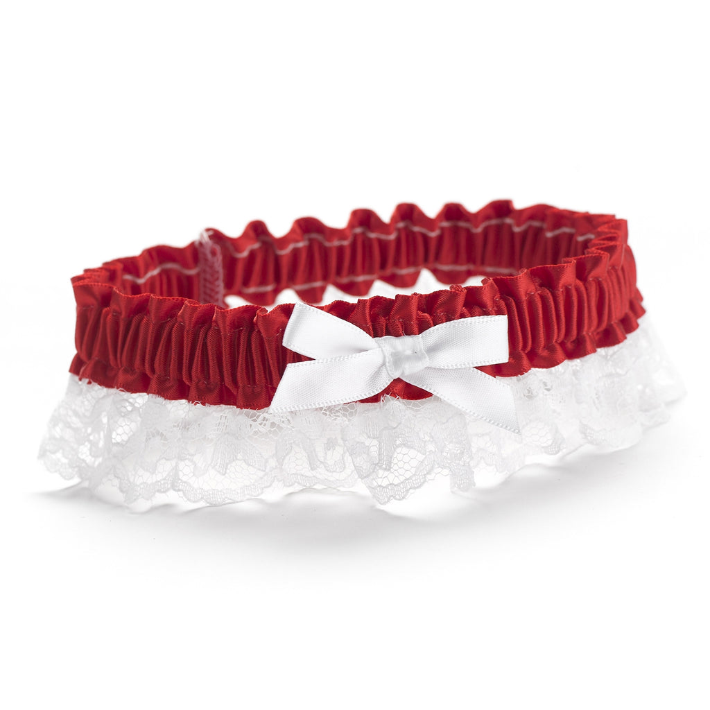 Red Ribbon & Lace Garter