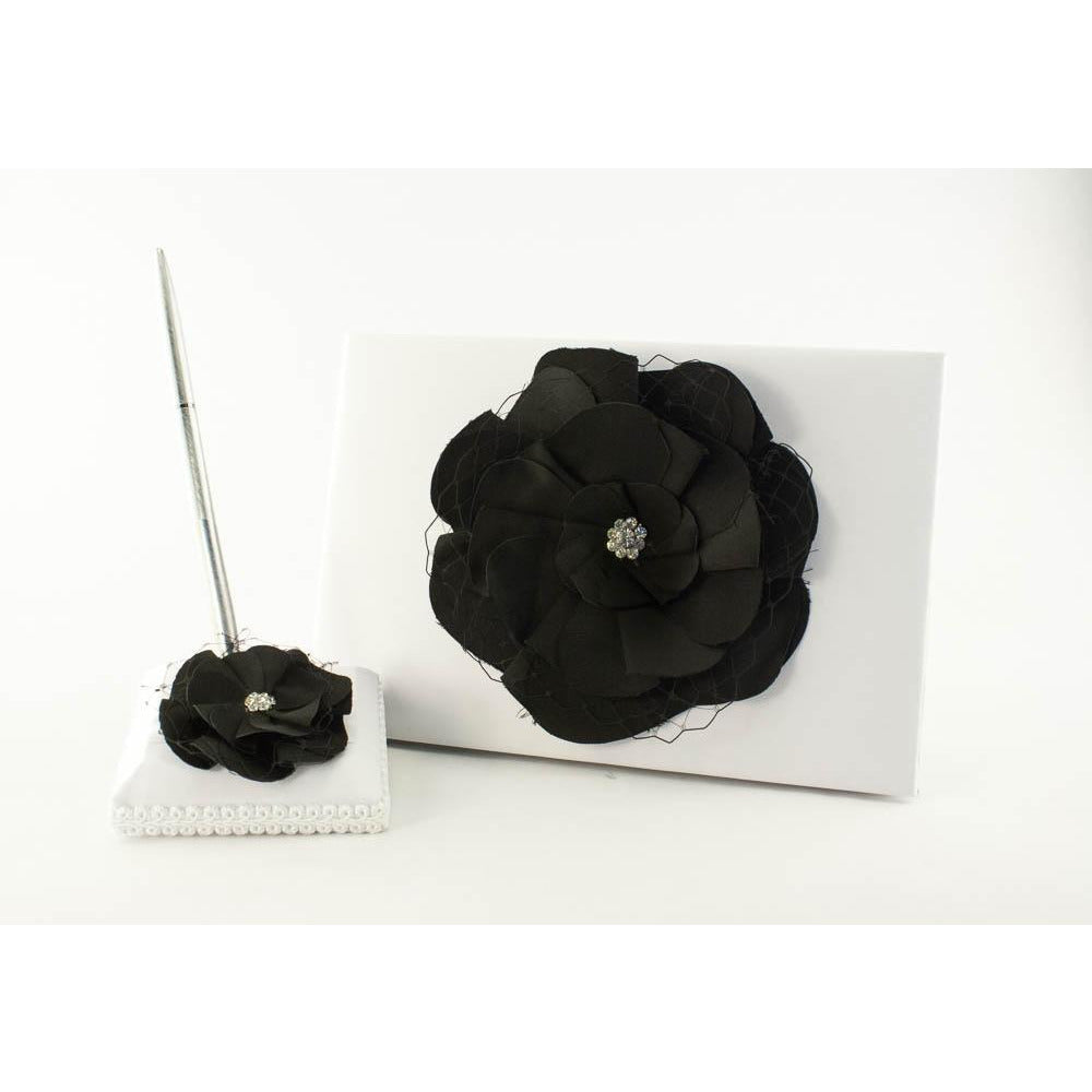 Black Rose Wedding Guestbook and Pen Set