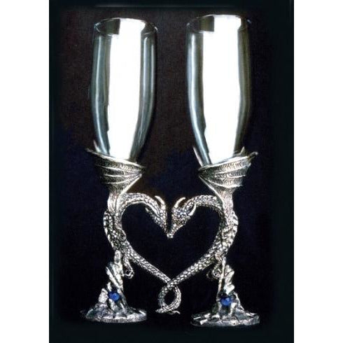 Regal Dragon Heart Wedding Toasting Glasses Set