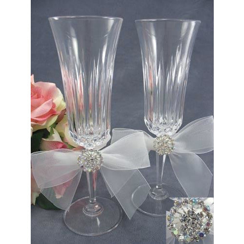 Rhinestone Burst Wedding Toasting Glasses