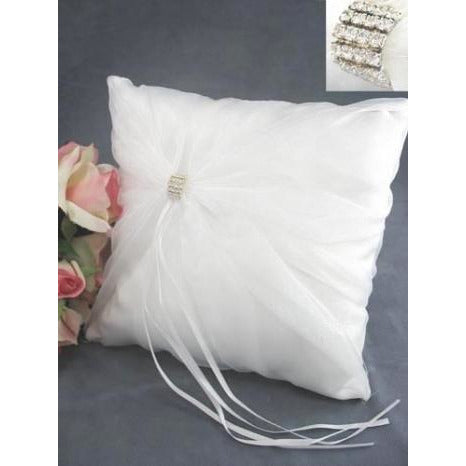 Rhinestone Elegance Wedding Ring Bearer Pillow