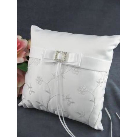 Rhinestone Embroidered Elegance Wedding Ring Bearer Pillow