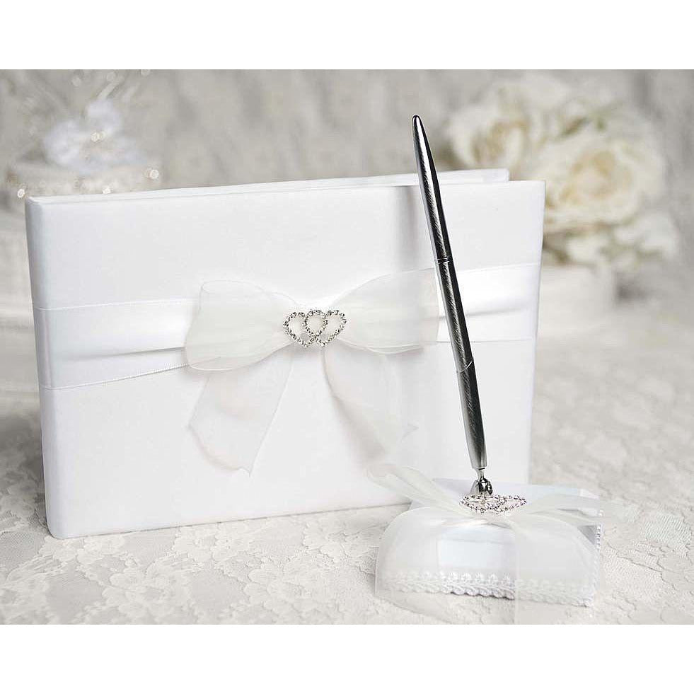Rhinestone Hearts Wedding Guestbook and Pen Set