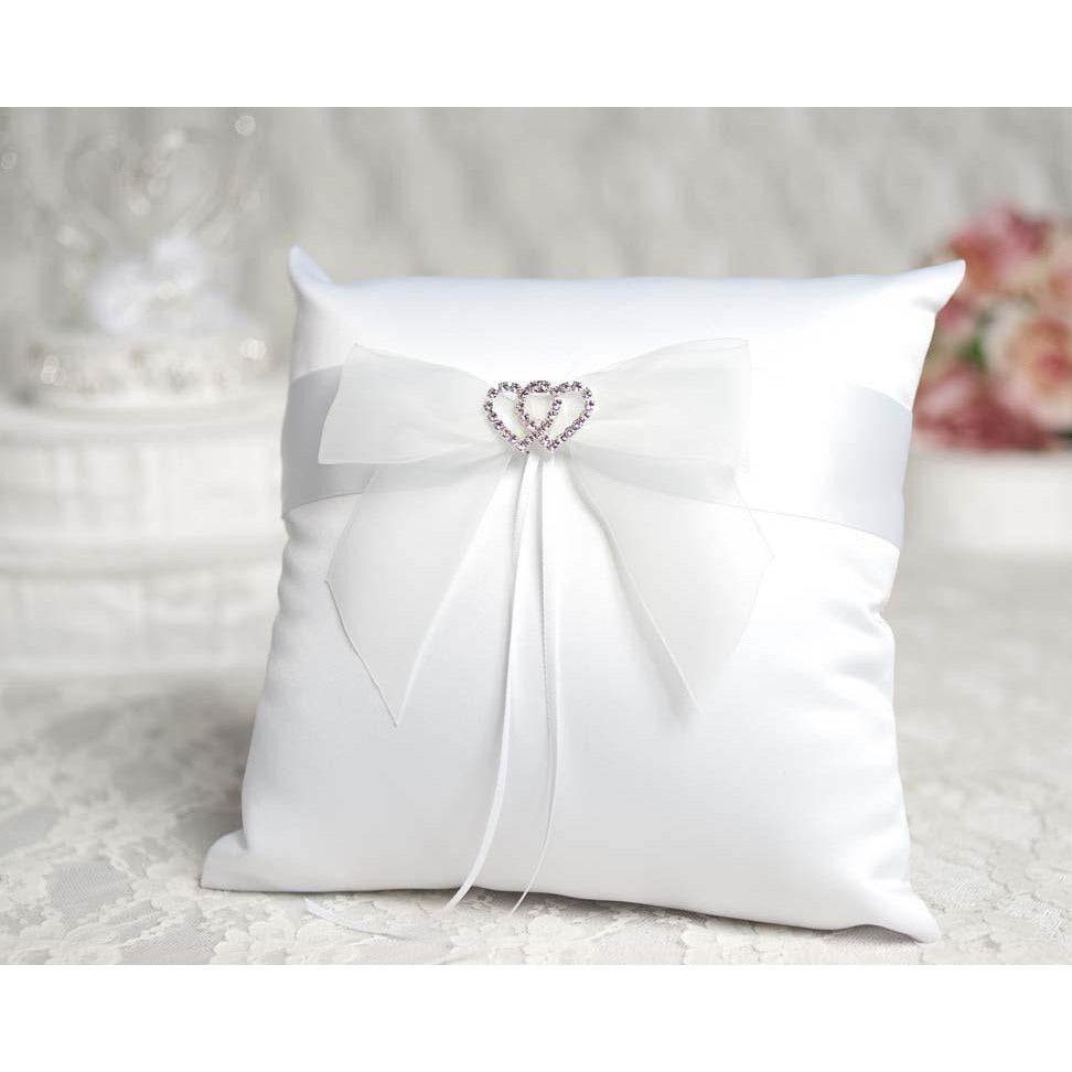Rhinestone Hearts Wedding Ring Bearer Pillow